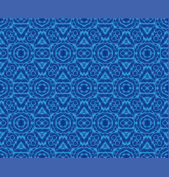 Elegant patterned fabric indigo dyed ikat vector