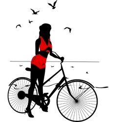 Elegant Silhouette of pinup girl on a bicycle vector image