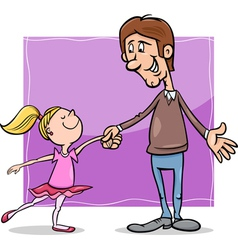 father and daughter cartoon vector image