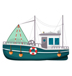 fishing trawler commercial boat fishing vessel vector image