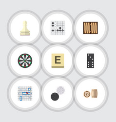 flat icon games set of gomoku mahjong chequer vector image