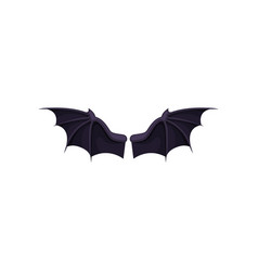 flat icon of black bat wings accessory of vector image