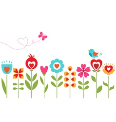 Floral hearts design vector image