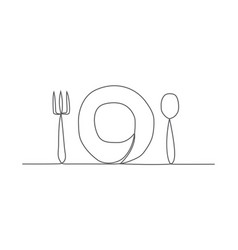 Food one line drawing vector