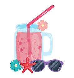fresh juice fruit jar with straw and sunglasses vector image