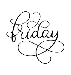 friday word on white background hand drawn vector image