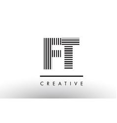 Ft f t black and white lines letter logo design vector
