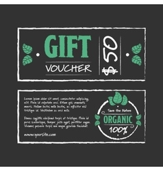 Gift voucher organic food vector image