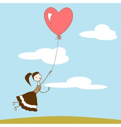 Girl holding the string of flying red balloon vector image