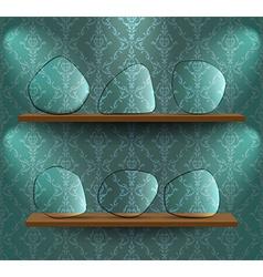Glass plates on the shelves vector