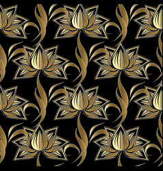gold paisley seamless pattern abstract black vector image