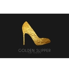 Golden slipper Princess slipper Elegant slipper vector