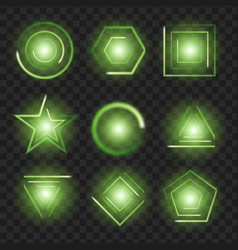 green glowing lights shape on black transparent vector image