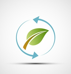 green leaf with blue arrows vector image