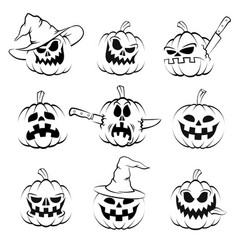 Halloween pumpkin set jack-o-lantern vector