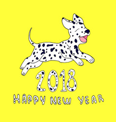 happy dog as a symbol 2018isolated on yellow vector image