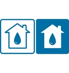 house icons with big water drop vector image
