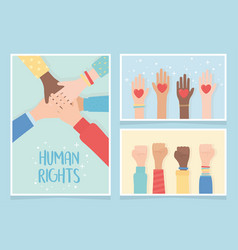 Human rights together community hands equality vector