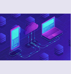 isometric cloud storage concept vector image
