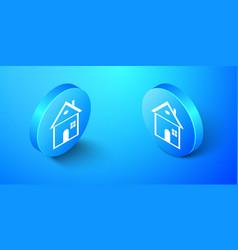 isometric house icon isolated on blue background vector image