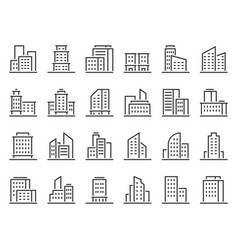 line building icons hotel companies business icon vector image