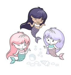 Little mermaids cartoon characters vector