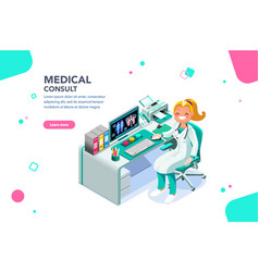 medical consult web page template vector image