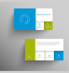 Modern blue green business card template vector image colourmoves
