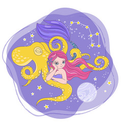 Moon octopus mermaid space cartoon vector