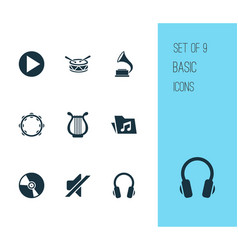 Multimedia icons set collection of start silence vector