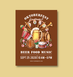 Oktoberfest poster with food music beer flowers vector