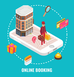 Online hotel booking concept flat isometric vector