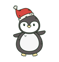 penguin with hat celebration merry christmas vector image