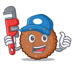 Plumber chocolate biscuit mascot cartoon vector