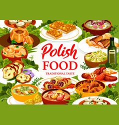 Polish food restaurant meals and dishes poster vector