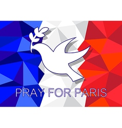 Pray for Paris with dove olive symbol vector