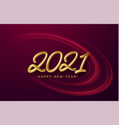 realistic shiny 3d golden inscription 2021 happy vector image