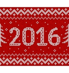 Red knit for 2016 new year seamless vector