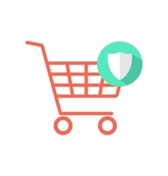 Red shopping cart with green shield icon vector
