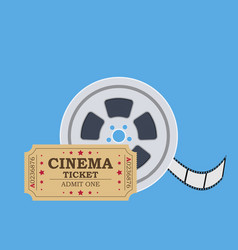 Retro cinema ticket and film reel vector