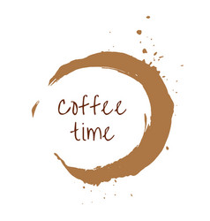Round coffee time watercolor label vector