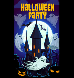 scary castle night horrors halloween party vector image