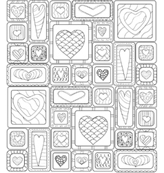 Seamless pattern of original drawing doodle hearts vector image