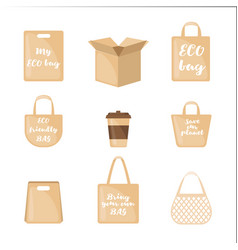 set eco packaging icons in flat style vector image