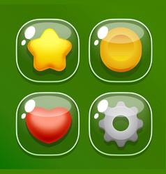 Set glass butons for mobile game ui vector