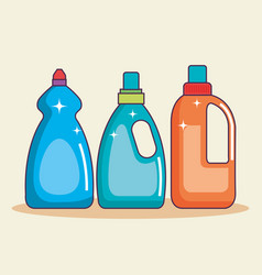 Set of containers with detergent for cleaning vector