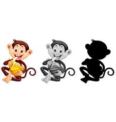 set of monkey eating banana vector image