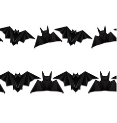 set of seamless borders with 3d of origami bat vector image