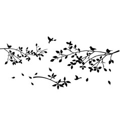 Silhouette tree branches and flying birds design vector
