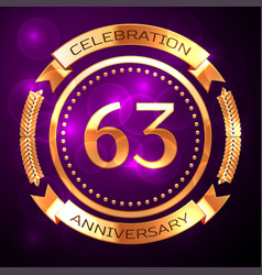 sixty three years anniversary celebration with vector image